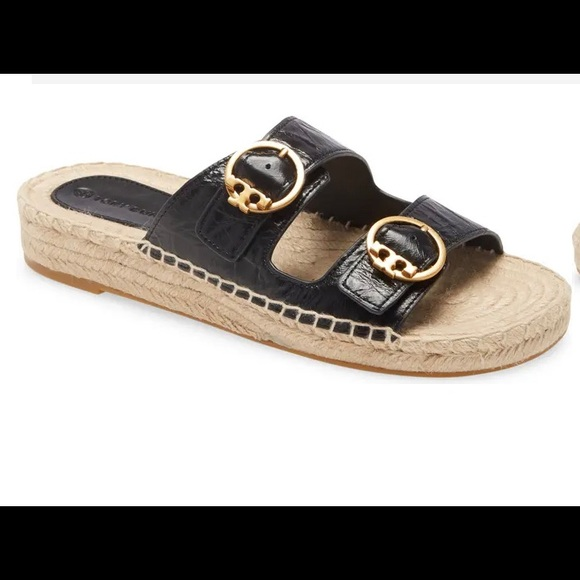 Tory Burch Selby Two-Band Espadrilles Slides 8.5